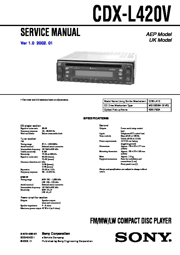 Sony CDX-L420V Service Manual - FREE DOWNLOAD
