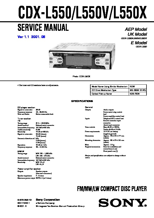 987025612 sony cdx l550, cdx l550v, cdx l550x service manual free download sony cdx l550x wiring diagram at gsmportal.co