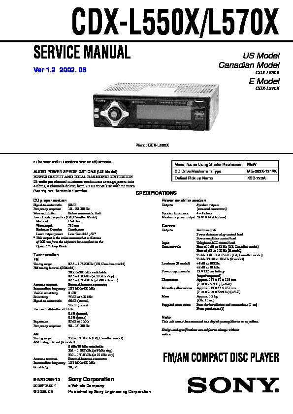 manuals sony cdx l550x repair service manual pdf full