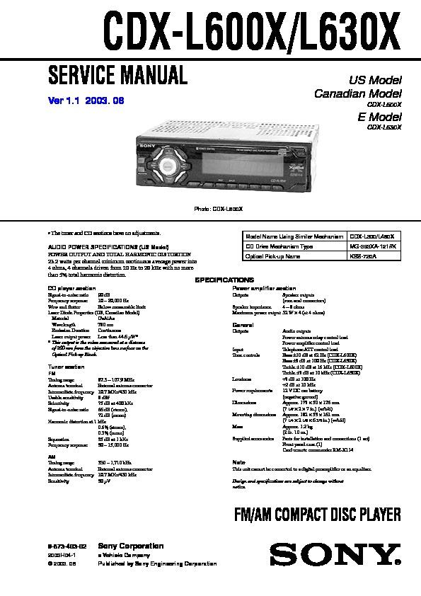 Sony CDX-L600X, CDX-L630X Service Manual - FREE DOWNLOADFree service manuals