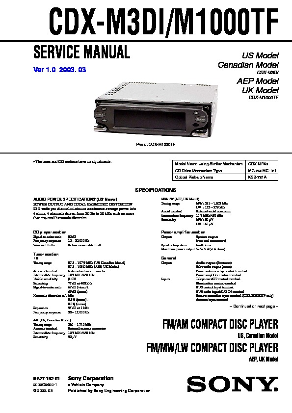 Sony Cdx-m10  Cdx-mr10 Service Manual