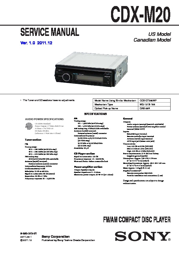 sony cdx m20 service manual free download rh servicemanuals us Sony Xplod CDX 350MP Manual Sony Xplod Drive S Manual
