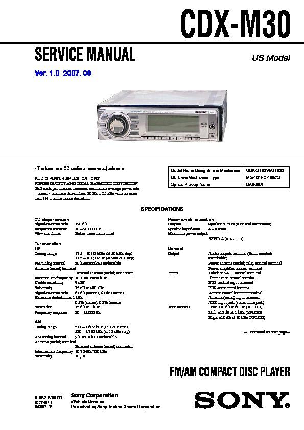 sony cdx m30 service manual free download rh servicemanuals us sony marine radio cdx m30 manual sony cdx-m30 wiring harness
