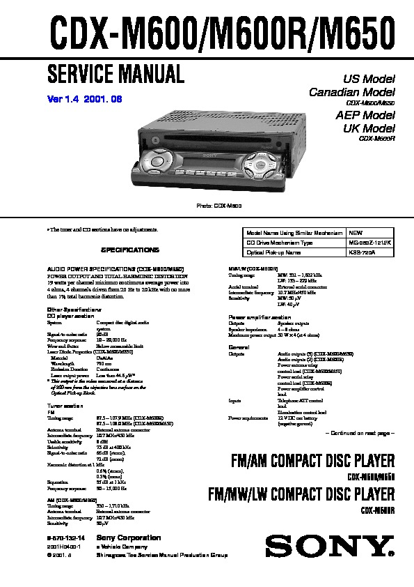 987013214 sony cdx m600, cdx m600r, cdx m650 service manual free download sony cdx m630 wiring diagram at gsmx.co