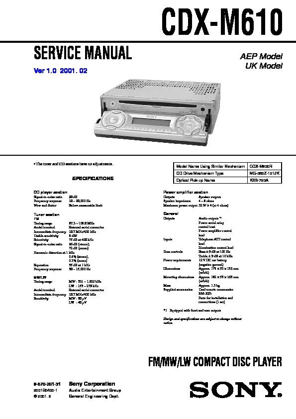 Sony Cdx-m610 Service Manual