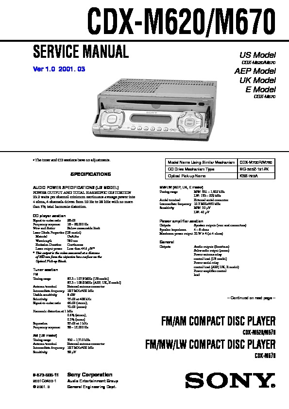 Sony    CDX      M620        CDX   M670 Service Manual  FREE DOWNLOAD