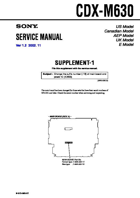 Sony Cdx-m630 Service Manual