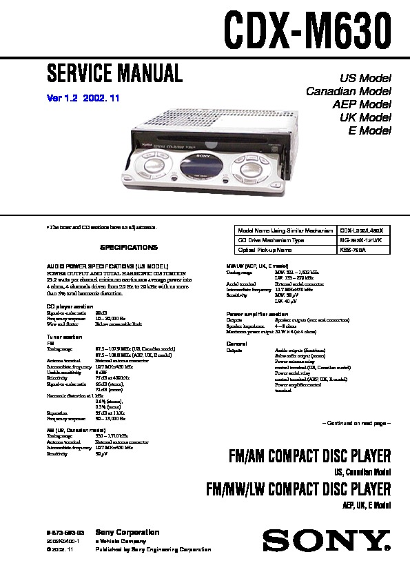 Sony CDX-M630 Service Manual - FREE DOWNLOADService Manual
