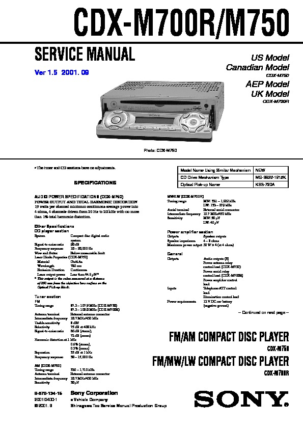 sony car audio service manuals page 34 sony cdx gt32w sony cdx m700r, cdx m750 service manual