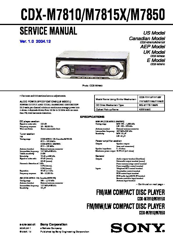 sony cd player wiring diagram sony cdx m7810  cdx m7815x  cdx m7850 service manual free download  sony cdx m7810  cdx m7815x  cdx m7850