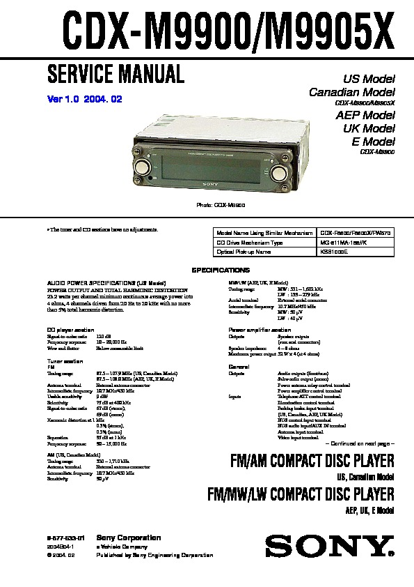 Sony Car Audio service manuals - Page 14 Radio Wiring Diagram For Sony Cdx Mp on