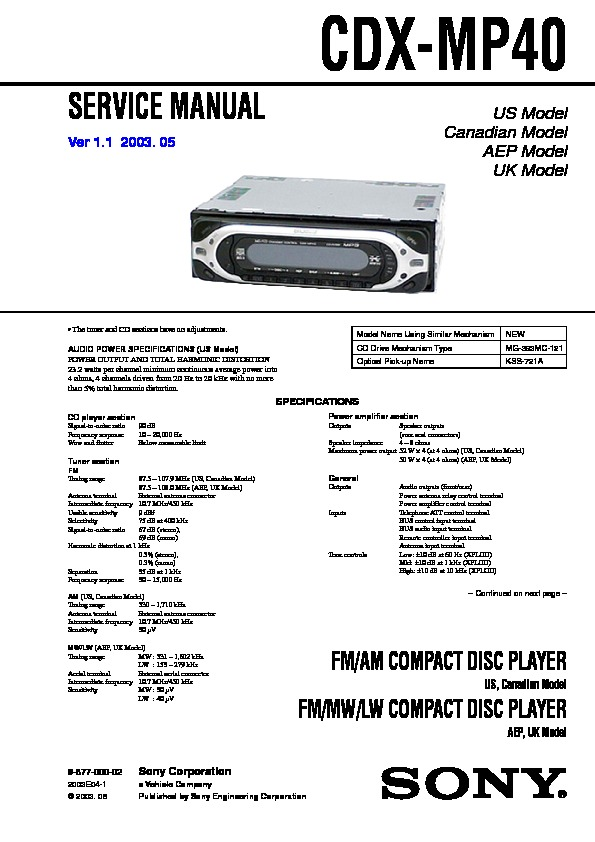sony cdx mp40 service manual free download rh servicemanuals us Sony Stereo Wiring Colors Sony Wiring Harness Colors