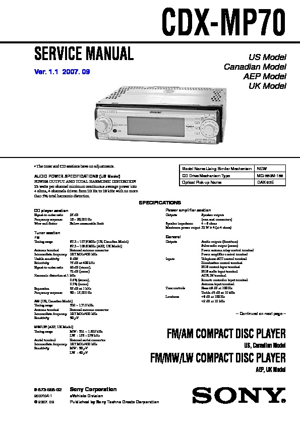 sony cdx mp70 service manual free download rh servicemanuals us sony cdx-mp70 wiring diagram sony xplod cdx-mp70 manual