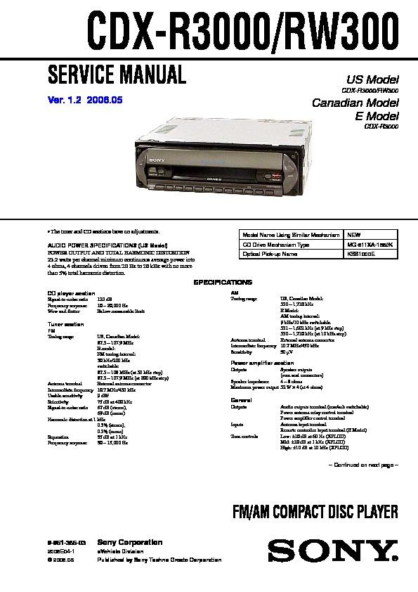 Sony Cdx-r3000  Cdx-rw300 Service Manual