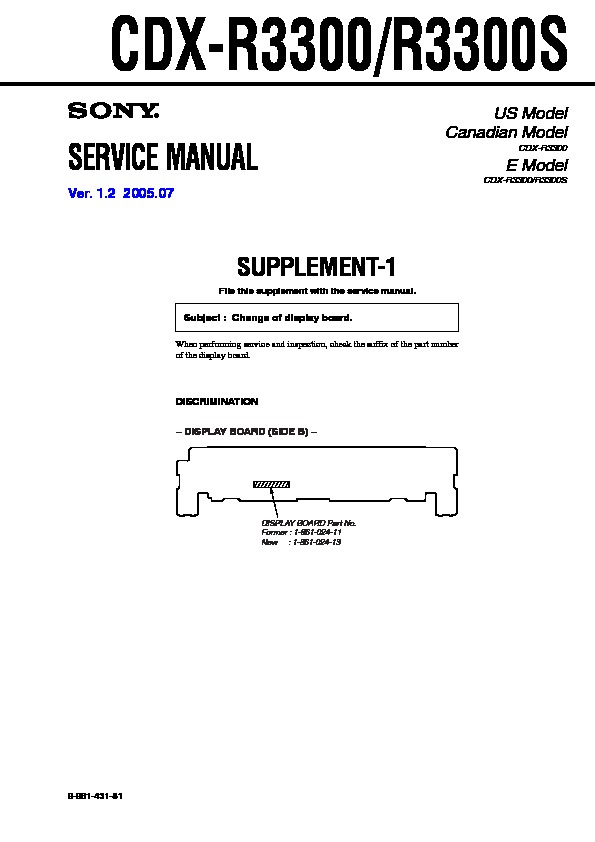 996143181 sony cdx r3300, cdx r3300s, cxs r330gf service manual free download sony cdx-r3300 wiring diagram at soozxer.org