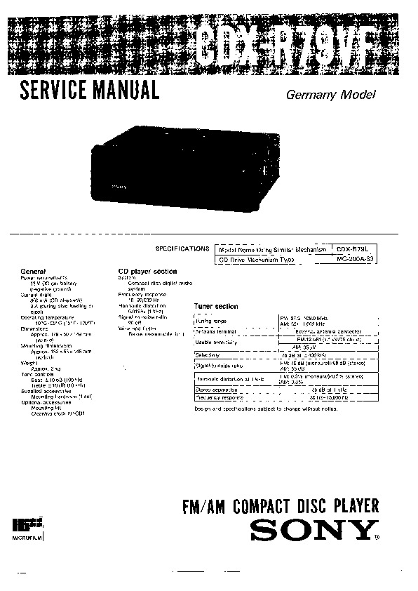 sony cdx-r79vf service manual