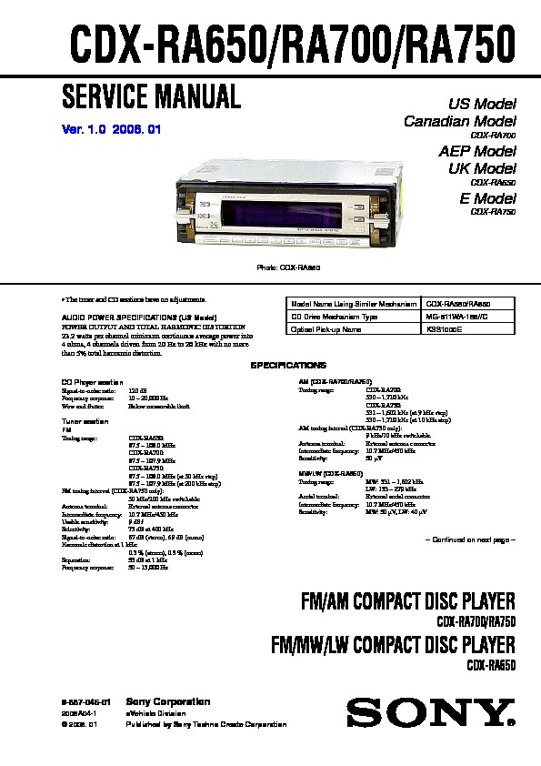 988704601 sony cdx ra650, cdx ra700, cdx ra750 service manual free download sony cdx ra700 wiring diagram at edmiracle.co
