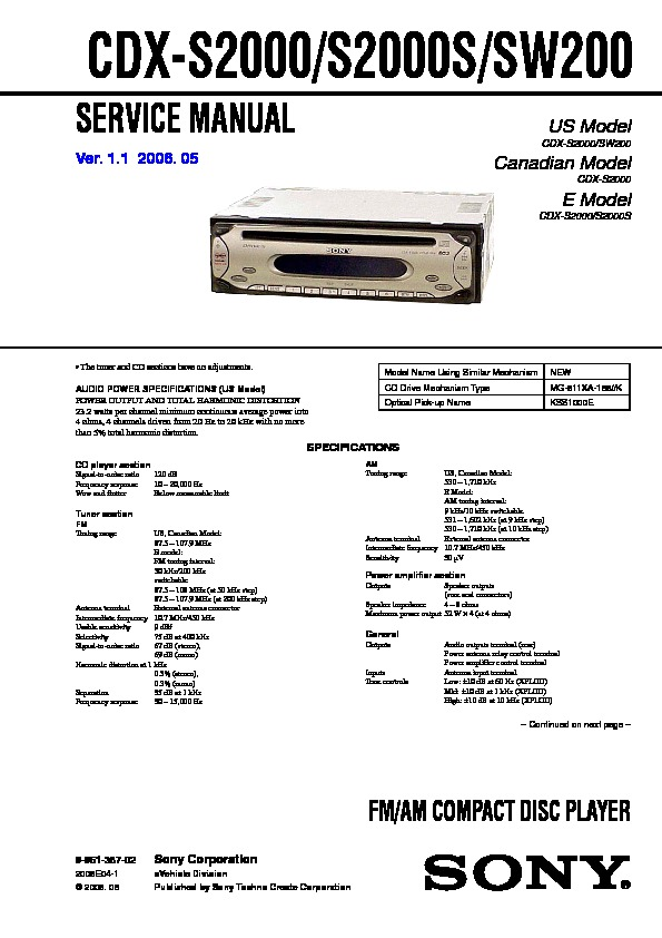Wiring Diagram For Sony Xplod Cdx S2000 : Sony cdx s sw service manual
