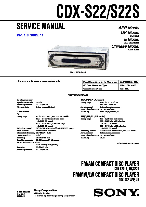 987995601 sony cdx s22, cdx s22s service manual free download sony cdx s2210 wiring diagram at gsmx.co