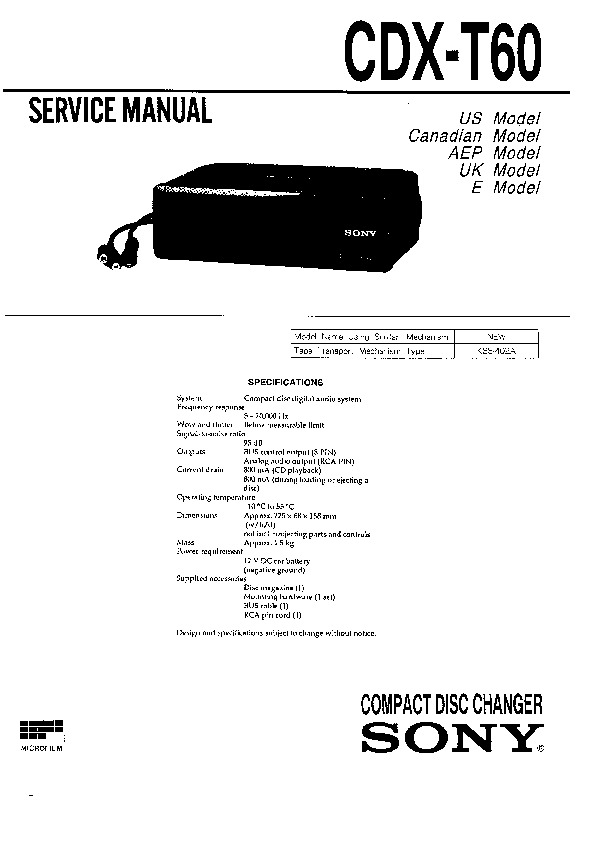 sony cdx-t60  cdx-t60rf service manual