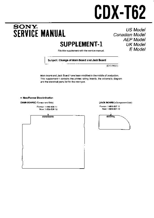 Sony Cdx-t62 Service Manual