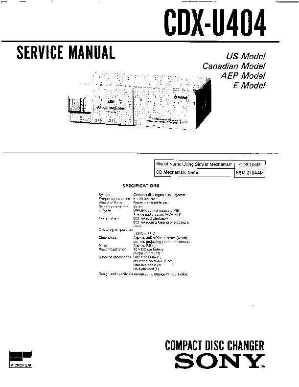 sony xr-u500rds  xr-u700rds service manual