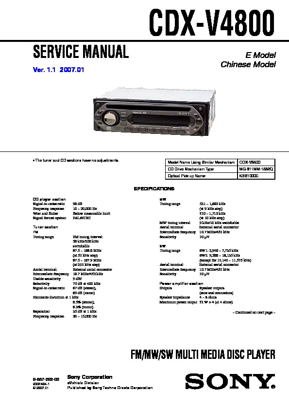 sony cdx v4800 service manual free download Sony Marine Stereo Sony Marine Stereo
