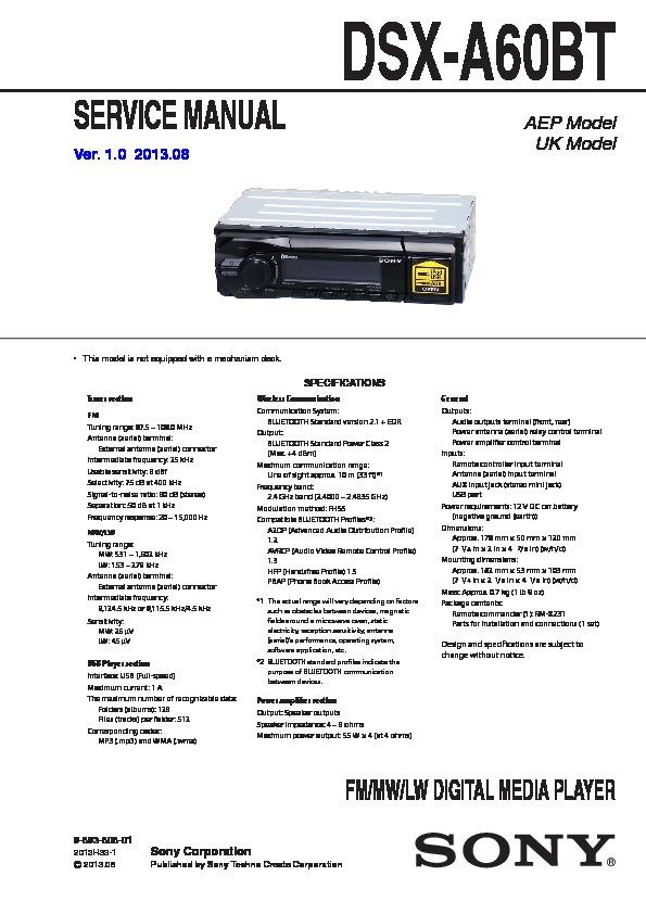 Sony Dsx-a60bt Service Manual