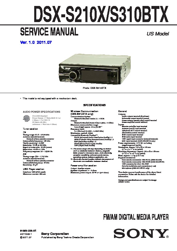sony dsx s210x dsx s310btx service manual free download rh servicemanuals us sony dsx-a400bt wiring diagram sony dsx-ms60 wiring diagram