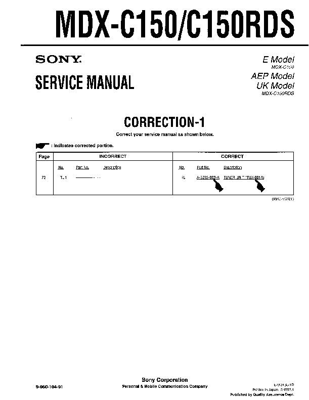 sony mdx c150 mdx c150rds service manual free download rh servicemanuals us mdx service manual pdf 2014 acura mdx service manual