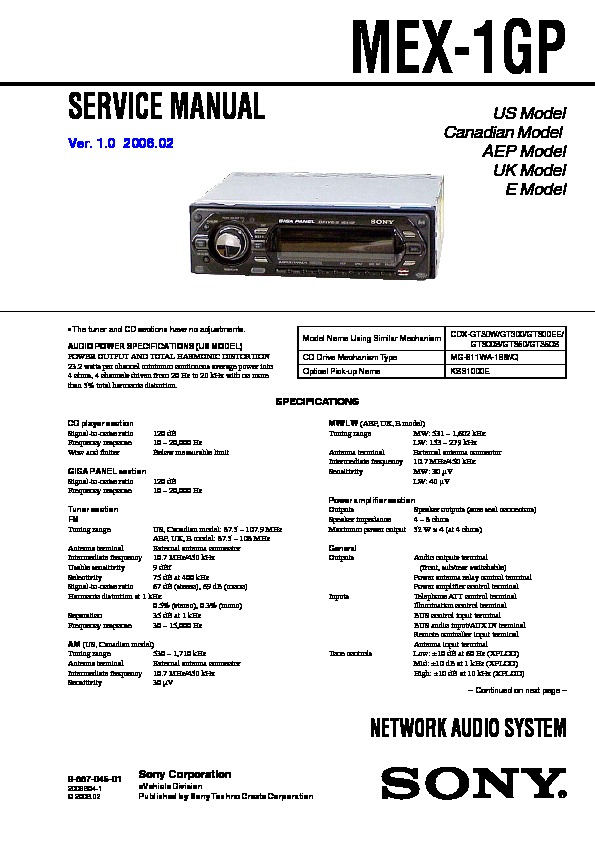 988704501 sony car audio service manuals page 48 sony mex-1gp wiring diagram at n-0.co