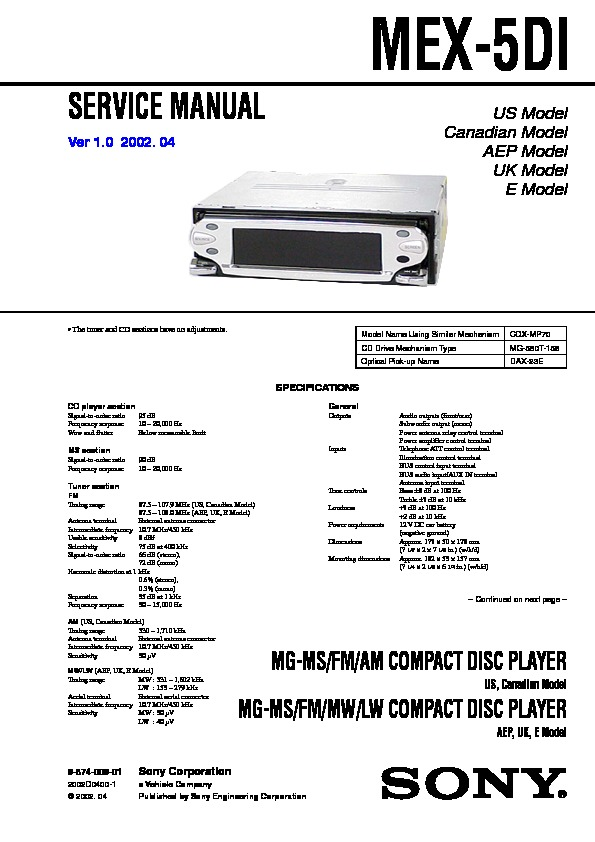 sony mex 5di service manual free download sony 45wx4 car audio manual Sony User Manuals