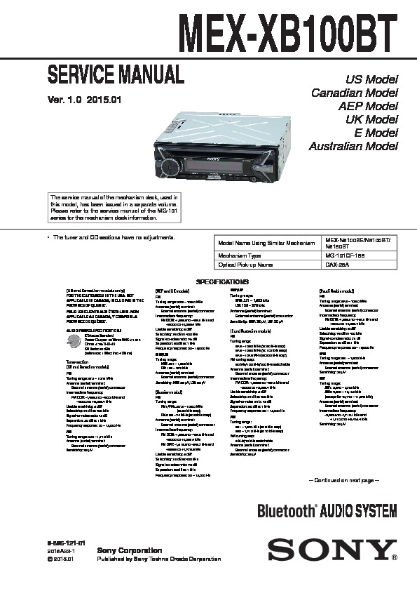Sony Mex-xb100bt Service Manual