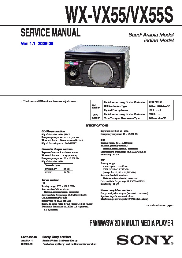 sony wx vx55 wx vx55s service manual free download rh servicemanuals us Sony STR De598 Input Sony Reciver