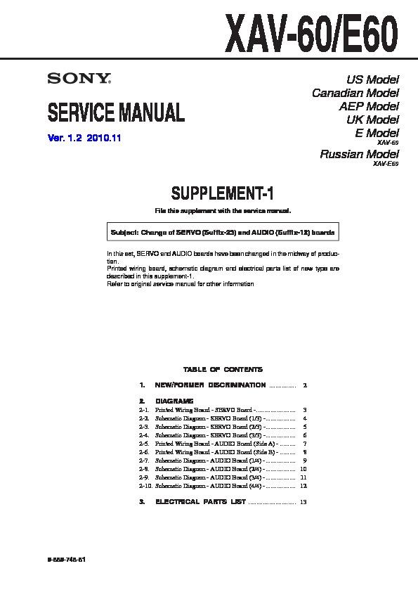 sony xav 60 xav e60 service manual free download rh servicemanuals us Sony XAV- 601BT Sony XAV-60 Bypass