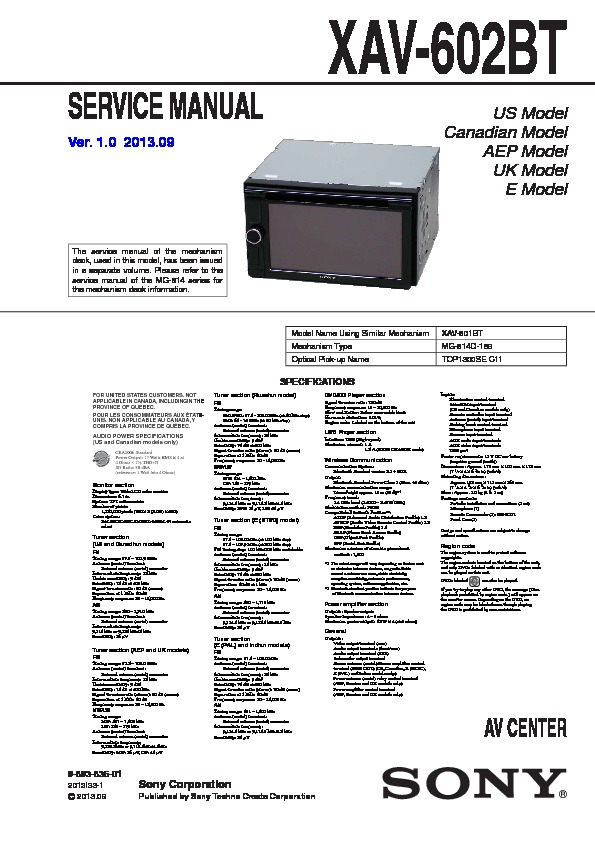 Sony Xav-602bt Service Manual