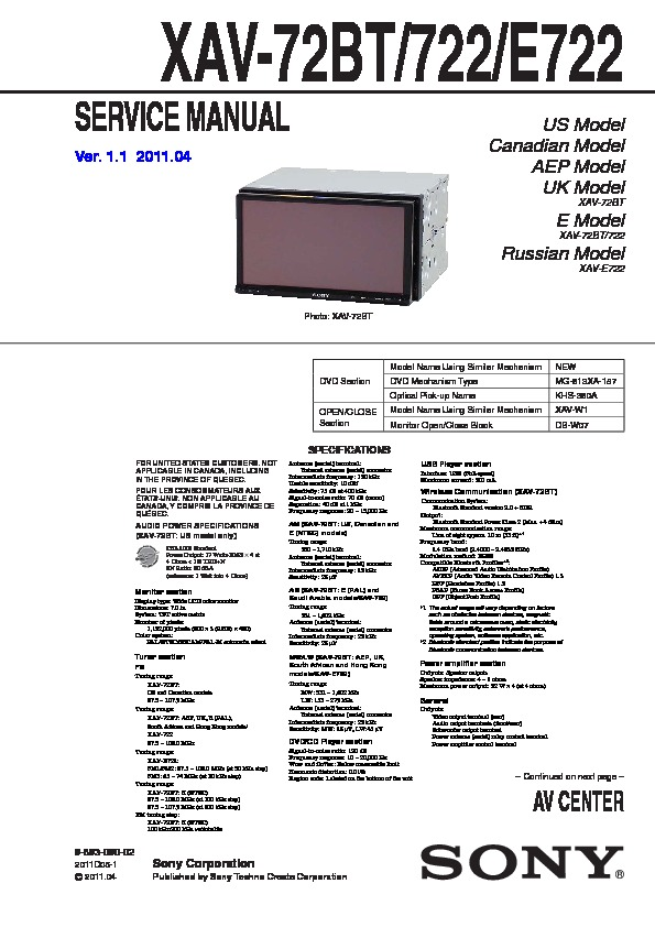 989309002 sony xav 722, xav 72bt, xav e722 service manual free download sony xav 62bt wiring diagram at mr168.co
