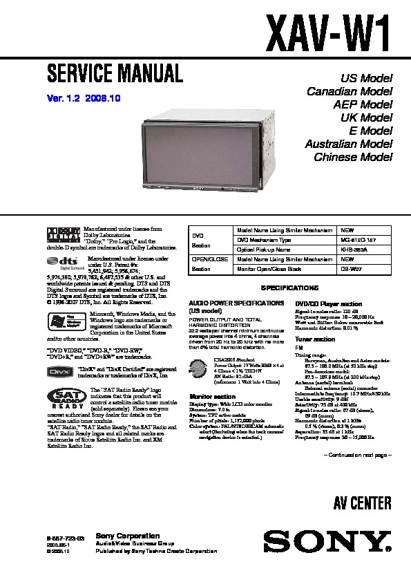988772303 sony xav w1 service manual free download sony xav-w1 wiring diagram at alyssarenee.co