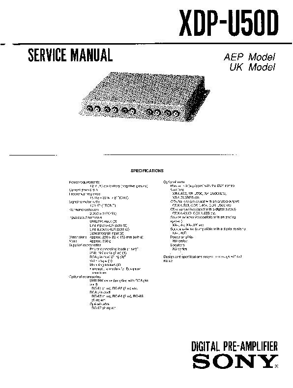 sony xdp-u50d  xr-u700rds  xr-u800rds service manual