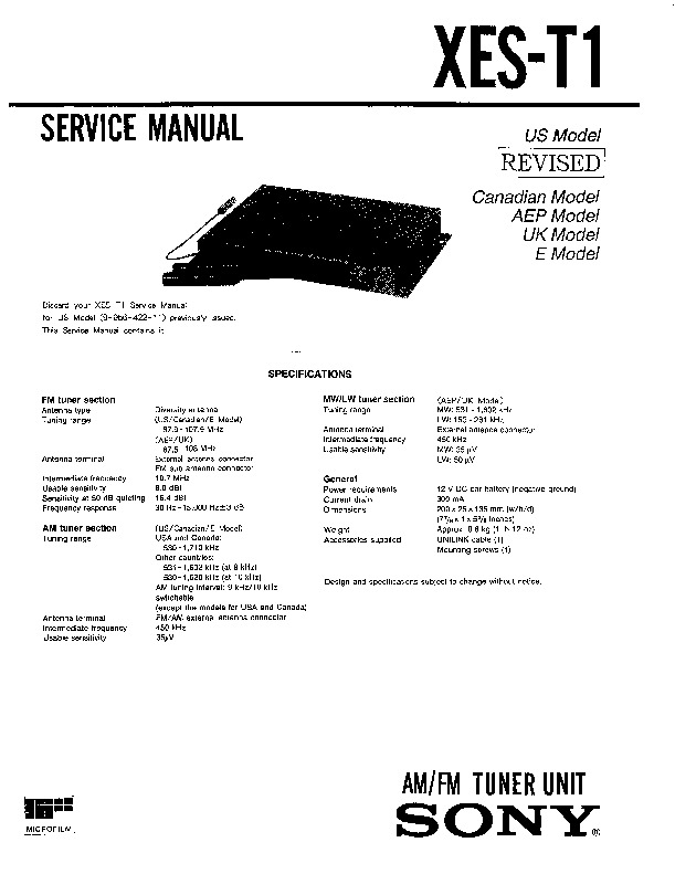 sony xes-t1 service manual
