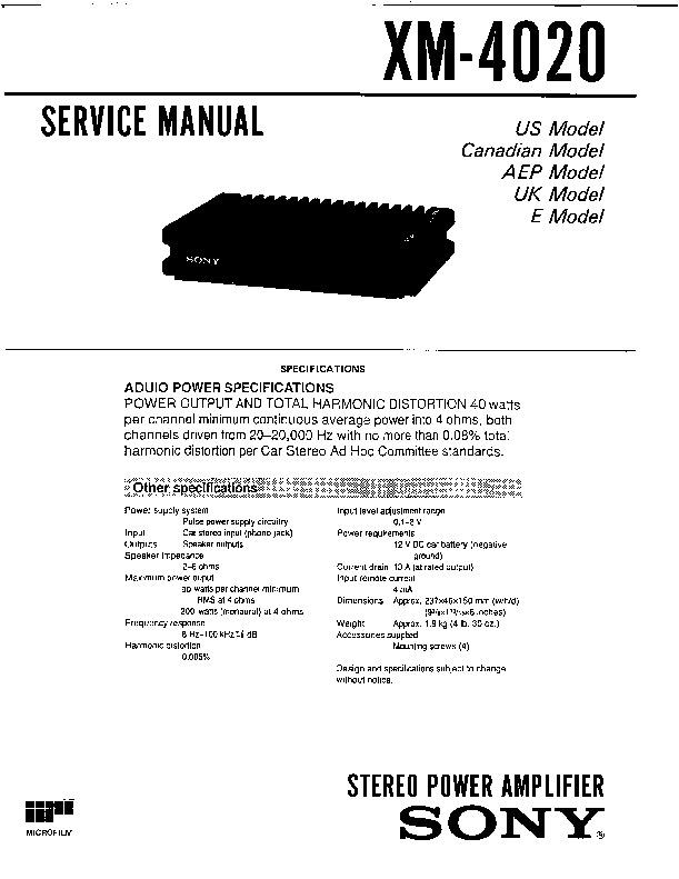 Sony Xm-4020 Service Manual