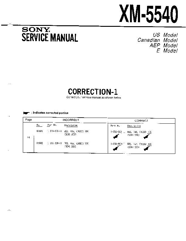Sony Xm-5540 Service Manual