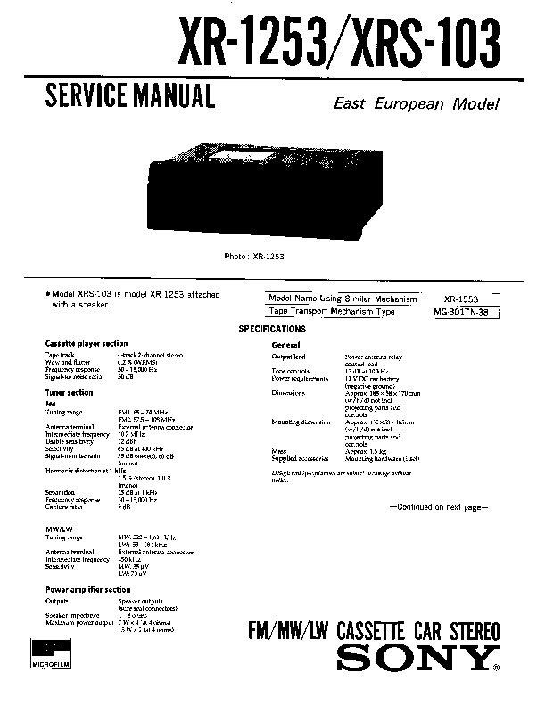 Sony Xr-1253  Xrs-103 Service Manual