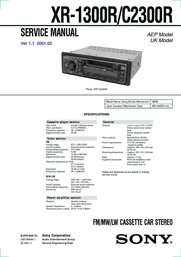 sony xr 1300r xr 2300r xr c2300r service manual free download rh servicemanuals us sony car audio owner's manual sony car audio bluetooth manual