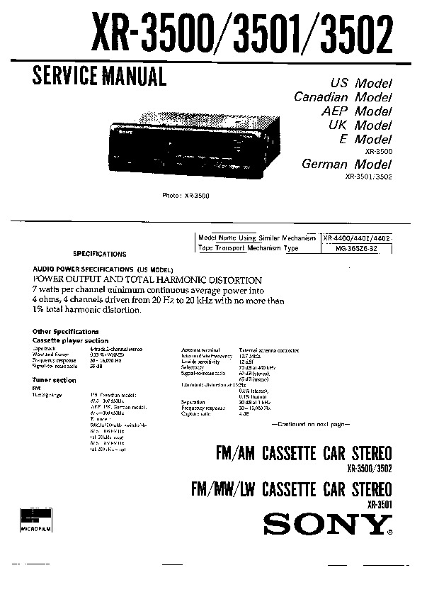 Sony Xr-3500  Xr-3501  Xr-3502 Service Manual