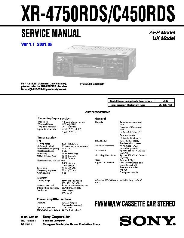 Sony Xr-4750rds  Xr-c450rds Service Manual