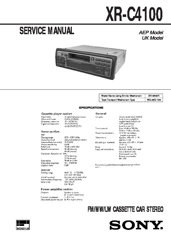 Sony Xr-c4100 Service Manual