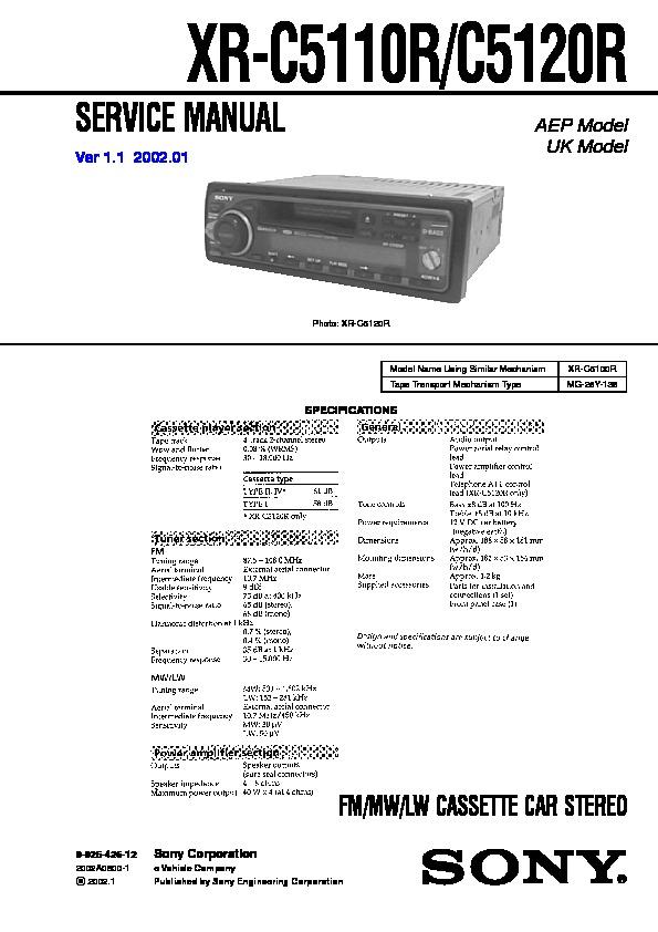 sony xr-c5110r, xr-c5120r service manual
