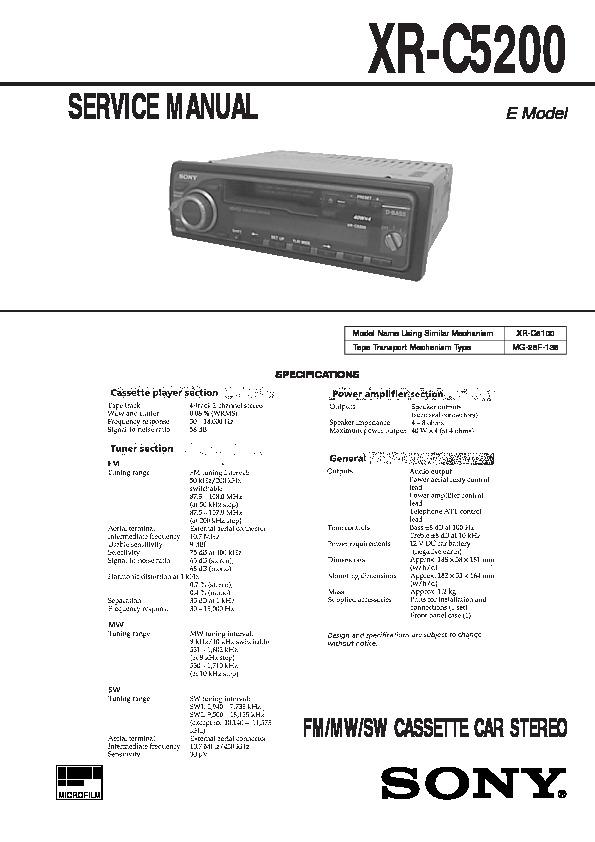 Sony Xr-c5200 Service Manual