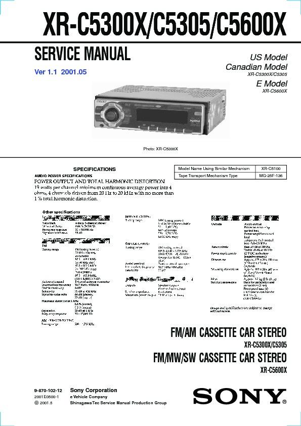 sony xr c5300x xr c5600x service manual free download rh servicemanuals us realistic mg-1 service manual 1 Mg Powder